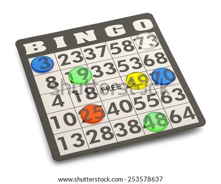 Bingo Card with Game Pieces Isolated on White Background. - stock photo