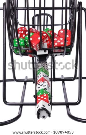 Bingo Game Cage with Dice - stock photo