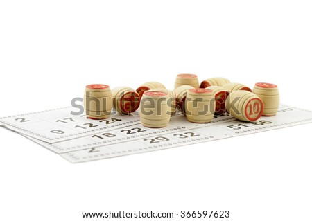 Bingo game with cards and chips - stock photo