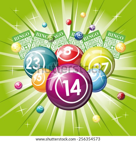 Bingo or lottery balls and cards on green background - stock photo