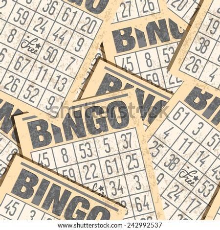Bingo seamless retro background with cards - stock photo