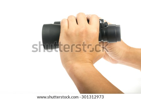 binocular for check information and search as your need with white background. - stock photo