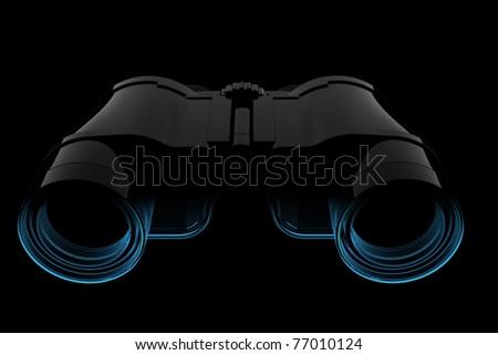 Binoculars (3D xray blue transparent) - stock photo