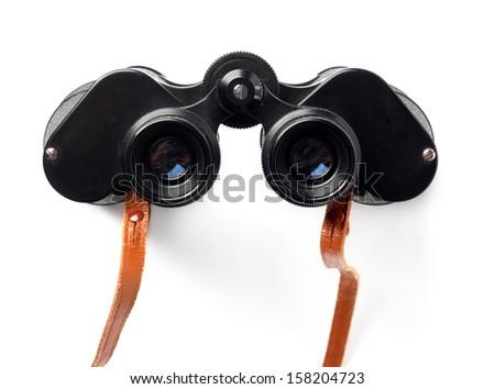 Binoculars on white background - stock photo