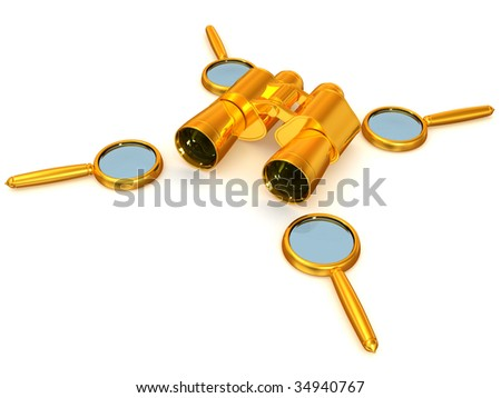 Binoculars with Magnifier. 3d - stock photo