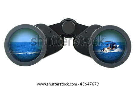 Binoculars with summer sea boat on white background - stock photo