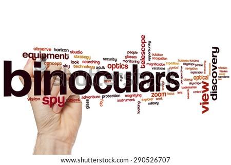 Binoculars word cloud concept - stock photo