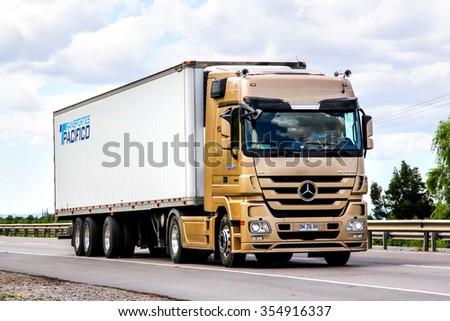 BIO-BIO, CHILE - NOVEMBER 23, 2015: Cargo truck Mercedes-Benz Actros 1854 at the interurban freeway. - stock photo