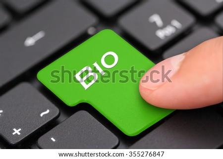 Bio button - stock photo