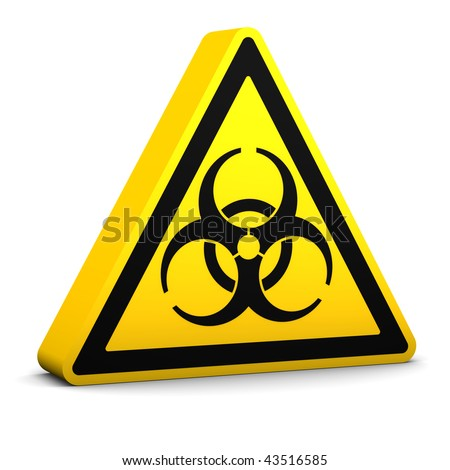 Bio-hazard yellow sign on a white background. Part of a series. - stock photo