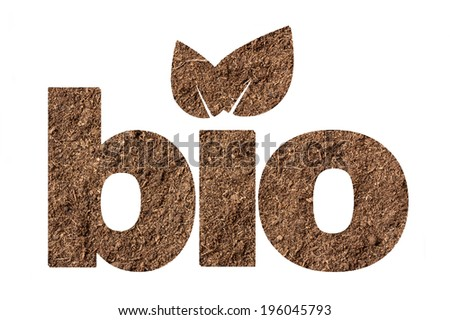 Bio shape made of soil texture isolated on white background - stock photo