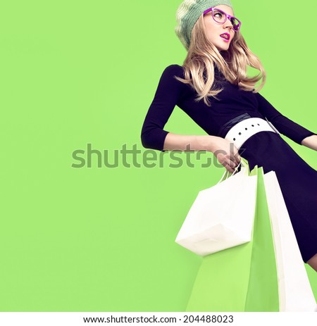 Bio shopping  fashion girl - stock photo