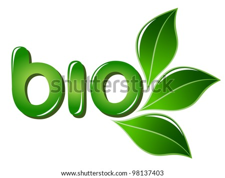 Bio sign with leafs - stock photo