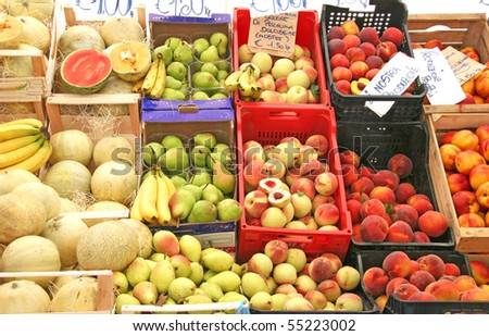 bio vegetables at the open market in Italy - stock photo