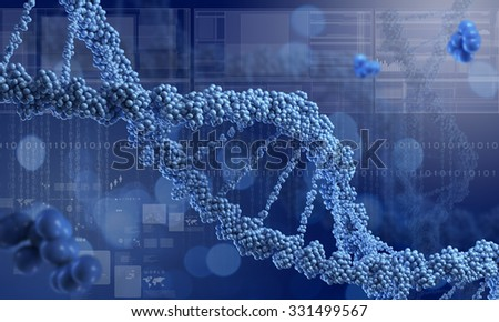 Biochemistry science concept with DNA molecules on blue background - stock photo
