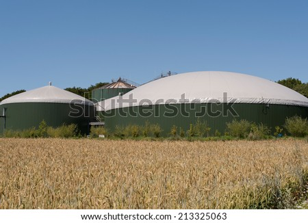 biogas plant - stock photo