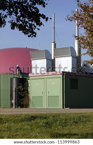 biogas plant agriculture new energy renewable - stock photo