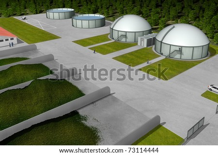 Biogas plant from aerial perspective - stock photo