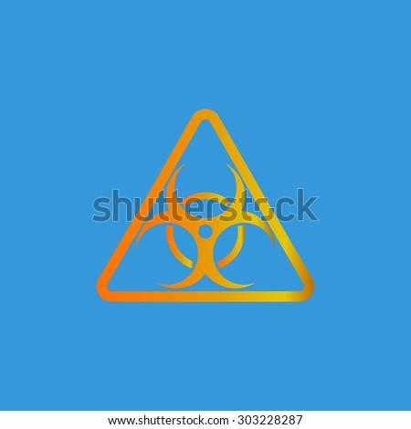 Biohazard. Simple flat icon on blue background - stock photo