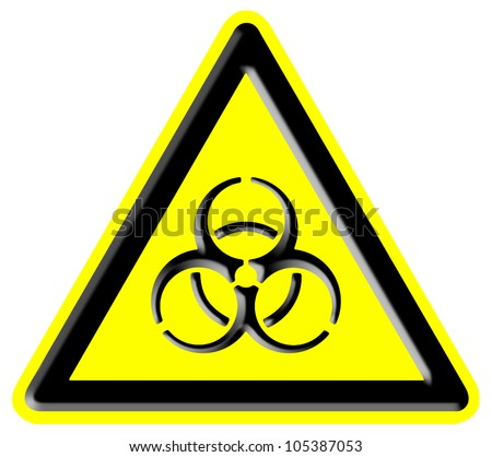 Biohazard symbol sign of biological threat alert, isolated black yellow triangle signage macro - stock photo