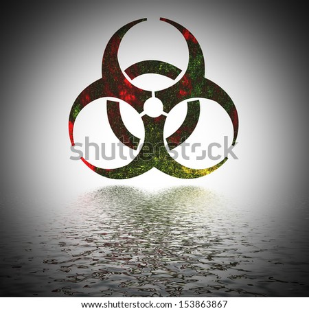 Biohazard warning sign reflected in water surface.  - stock photo
