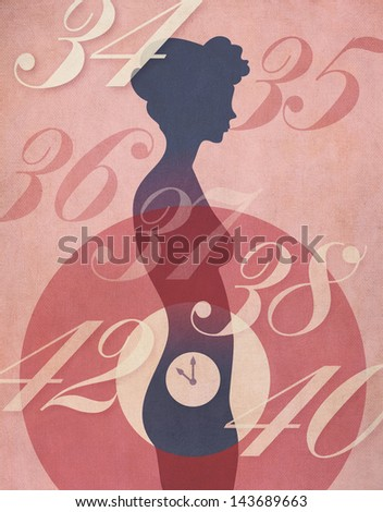 Biological Clock concept. Vintage poster style illustration of woman's silhouette with clock ticking away in her abdomen, surrounded by age numbers. Weathered canvas texture overall. - stock photo