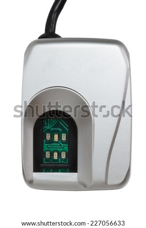 Biometric scanner for a fingerprint identification isolated on a white background - stock photo