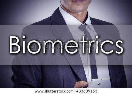 Biometrics - Young businessman with text - business concept - horizontal image - stock photo