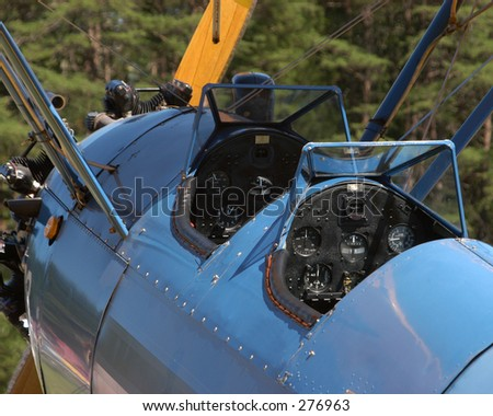 Biplane Cockpit - stock photo