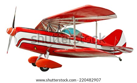 Biplane isolated. Clipping path included. - stock photo