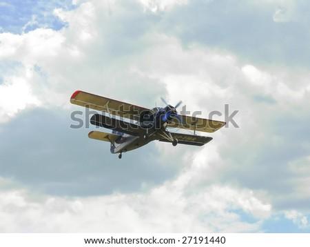 Biplane on air show - stock photo