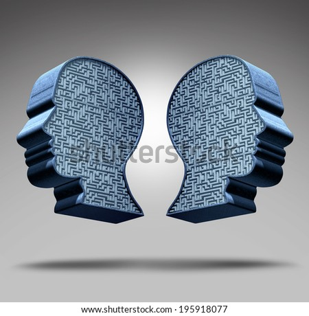 Bipolar disorder concept as a human head divided in two pieces with a maze or labyrinth inside as a mental health care symbol and medical psychological metaphor for social behavior challenges. - stock photo