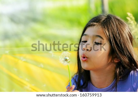 Biracial little girl blowing on dandelion outdoors in sunny yard - stock photo