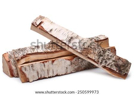Birch firewood on white background - stock photo