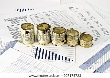 Birch wood on business financial analise reports - stock photo