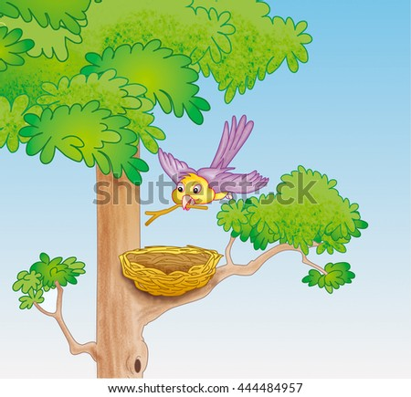 Bird building nest on the tree - jpg illustration - stock photo