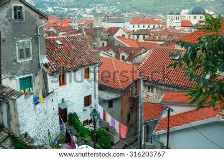 Bird eye view of buildings in Kotor old town, Montenegro, Balkans - stock photo