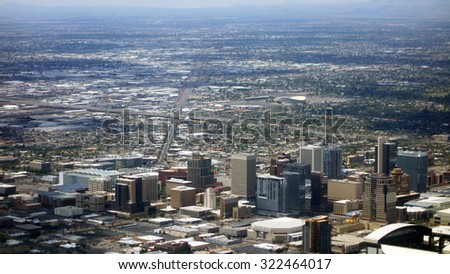 Bird eye view of Phoenix downtown, Arizona capital city - stock photo
