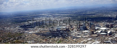 Bird eye view panorama of Phoenix downtown, Arizona capital city - stock photo