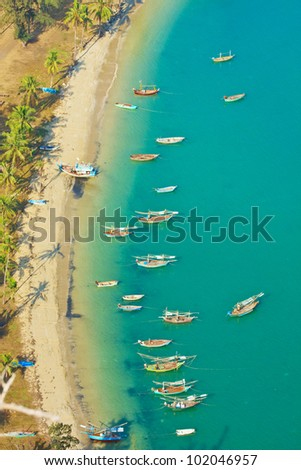 Bird eye view with fishing thai boats, The Beauiful Sea scape, Thailand - stock photo