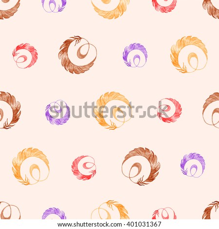 Bird feathers multicolored seamless pattern in watercolor. Vintage colors - stock photo