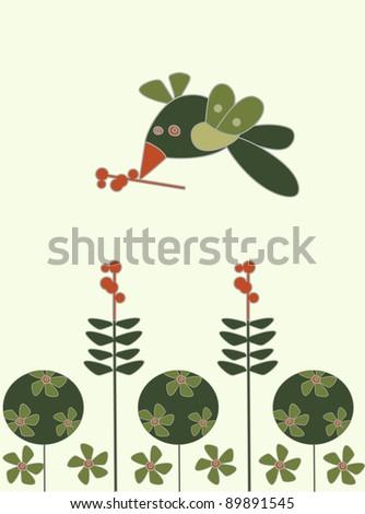 bird flying over flowers - stock photo