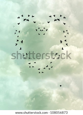 Bird Heart in a cloudy sky - stock photo