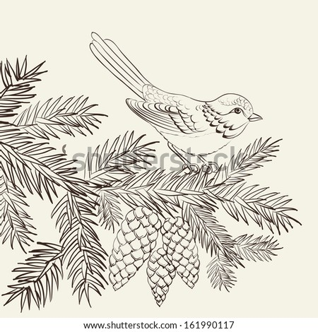 Bird on christmas fir and pinecone.  illustration. - stock photo