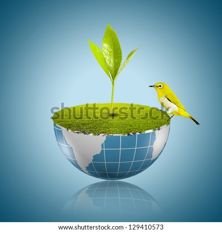 Bird on globe with grass growing - stock photo