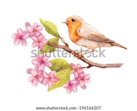 Bird on spring branch with blooming flowers and leaves. Watercolor art - stock photo