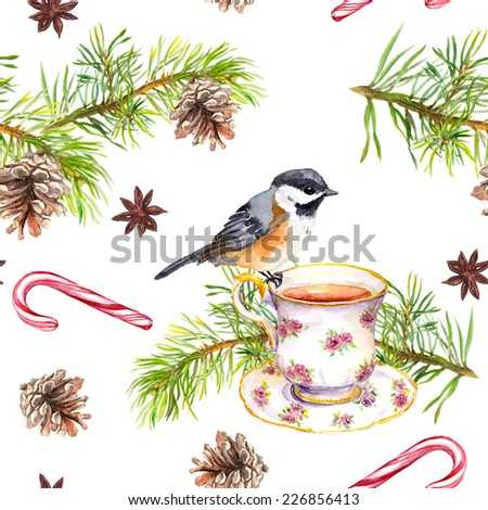 Bird on tea cup with pine tree branch, cone, candy cane. Repeating pattern. Watercolor - stock photo