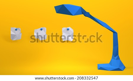 bird on the bench in paper style  - stock photo