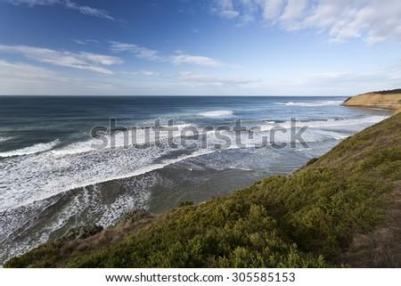 Bird Rock Beach on the Great Ocean Road, Australia, is a surf beach near the world famous Bells Beach - stock photo