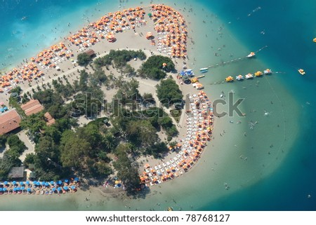 Bird's eye view of beach.Oludeniz,Turkey - stock photo